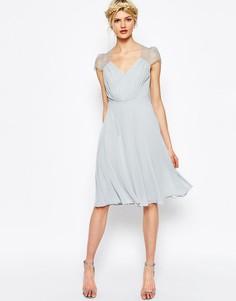 Платье миди с кружевными вставками ASOS Kate - Серый лед