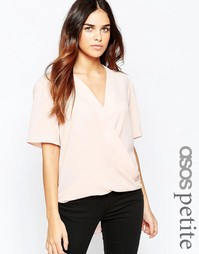 Драпированная блузка с короткими рукавами ASOS PETITE - Темно-синий