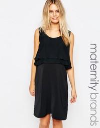 Двуслойное платье с оборками для кормящих мам Mamalicious - Черный Mama.Licious