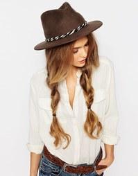 Мягкая фетровая шляпа с перекрученной хлопковой лентой Brixton