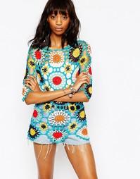 Платье-туника кроше в стиле 70-х Stitch & Pieces - Мульти