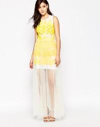 Платье макси с сетчатым верхним слоем True Violet