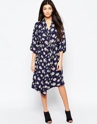Платье-рубашка миди с принтом Ichi - Синяя тень