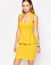 Платье миди с баской и глубоким вырезом спереди AX Paris - Желтый