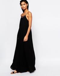 Платье макси на тонких бретельках Moon River - Черный