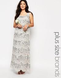 Шифоновое платье макси без рукавов с отделкой по всей длине Lovedrobe