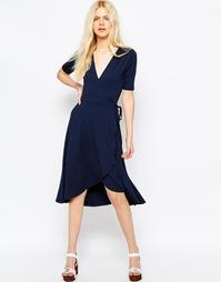 Чайное платье миди с запахом ASOS - Темно-синий
