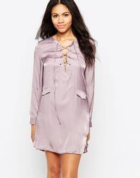Платье-туника со шнуровкой спереди Neon Rose - Фиолетовый