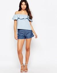 Джинсовые шорты с бантиками Sugarhill Boutique - Синий