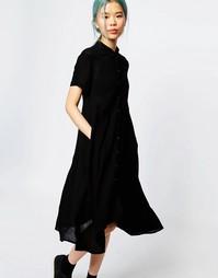 Платье-рубашка с короткими рукавами Monki - Черный