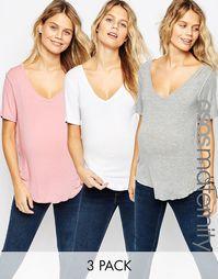 Набор из 3 футболок для беременных ASOS Maternity, СКИДКА 15%