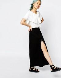 Джинсовая юбка миди на пуговицах Monki - Черный