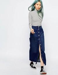 Джинсовая юбка миди на пуговицах Monki - Синий