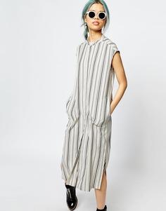 Платье миди в полоску с карманами Monki - Полоски