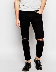 Черные джинсы скинни с дырками на коленях Hoxton Denim - Черный