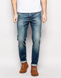 Синие выбеленные суженные книзу джинсы слим Lee - Синий Blue Rythym