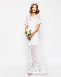 Кружевное платье макси с отделкой жемчугом ASOS BRIDAL - Белый