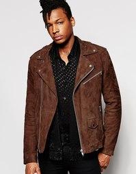 Коричневая замшевая куртка-косуха ASOS - Коричневый