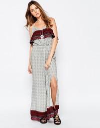 Платье макси с накладкой и принтом Brave Soul
