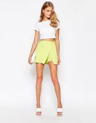 Асимметричная юбка-шорты Love - Лайм