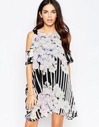Полосатое платье с открытыми плечами и цветочным принтом Style London