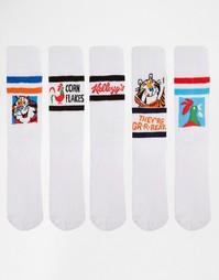 5 пар спортивных носков с рисунками сухих завтраков Kellogg's ASOS