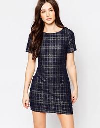 Цельнокройное платье в клетку металлик Hedonia Pia - Темно-синий