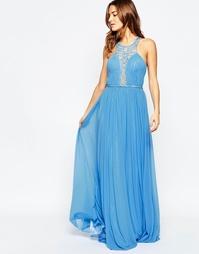 Платье макси с декорированной глубокой горловиной Forever Unique Saffr