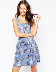 Платье с пальмовым принтом и вырезами Yumi - Синий