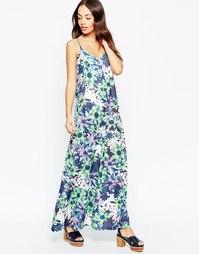 Платье макси с тропическим цветочным принтом Yumi - Синий