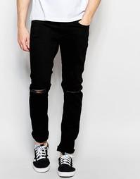 Рваные эластичные джинсы скинни Jack & Jones - Черный