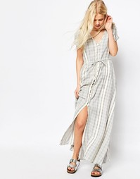 Платье макси в полоску из натуральных волокон ASOS - Мульти