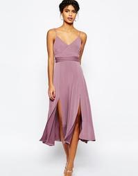 Платье миди с разрезом и завязкой на поясе ASOS - Grape