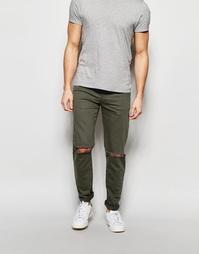 Темно-зеленые рваные джинсы скинни ASOS - Forest night