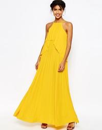 Плиссированное платье макси с рюшами ASOS - Желтый