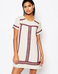 Платье-трапеция с вышивкой Moon River - Естественный