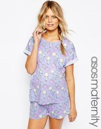 Пижамные футболка и шорты для беременных с кактусами ASOS Maternity