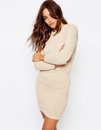 Платье-джемпер с эластичной талией ASOS - Кэмел