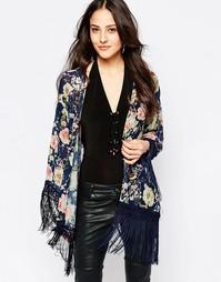 Кимоно с цветочным принтом и бахромой Jessica Wright Suzie