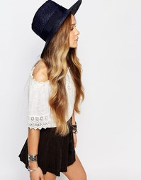 Широкополая соломенная шляпа с лентой Brixton - Темно-синий