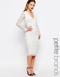 Платье миди с кружевом кроше Boohoo Petite - Белый