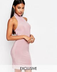 Платье миди с высоким воротом Club L - Пастельно-лиловый