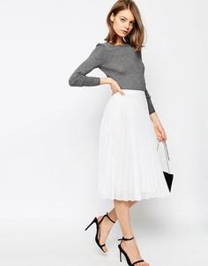 Плиссированная юбка миди ASOS - Белый
