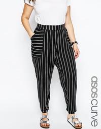 Полосатые широкие брюки с накладными деталями ASOS CURVE - Черно-белый