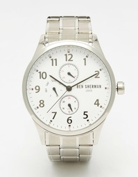 Серебристые многофункциональные наручные часы Ben Sherman - Серебряный