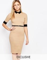 Платье-футляр миди с контрастным воротником Vesper