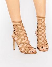 Замшевые сандалии на каблуке со шнуровкой ALDO Goude - Коньячный