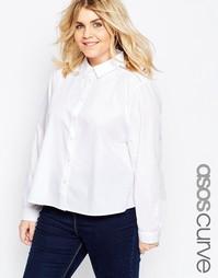Рубашка трапециевидного кроя с кружевной вставкой ASOS CURVE - Белый
