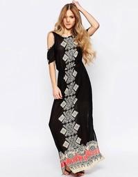 Платье макси с цветочным принтом и открытыми плечами Liquorish
