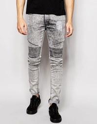 Байкерские джинсы с эффектом кислотной стирки Loyalty & Faith - Серый